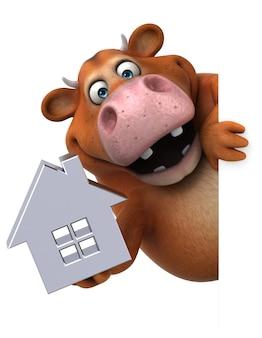 Vaca divertida - ilustração 3d