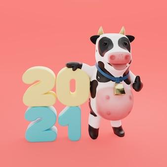 Vaca mascote renderização em 3d com traçado de recorte