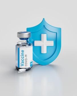 Vacina ampola de coronavírus com escudo 3d render ilustração em branco.