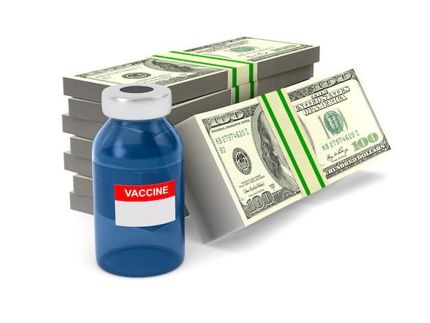 Vacina em frasco e dinheiro em fundo branco. ilustração 3d isolada