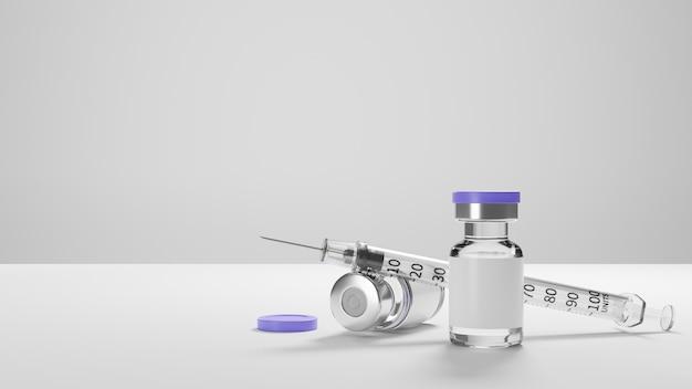 Vacinas antivírus e seringa com espaço de cópia em fundo branco para texto ou apresentação médica
