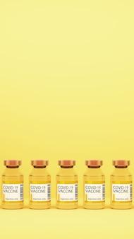 Vacinas covid-19 em renderização 3d de fundo amarelo