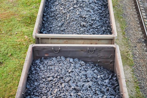 Vagões ferroviários carregados com carvão. trem de carga transportando carvão, madeira, combustível