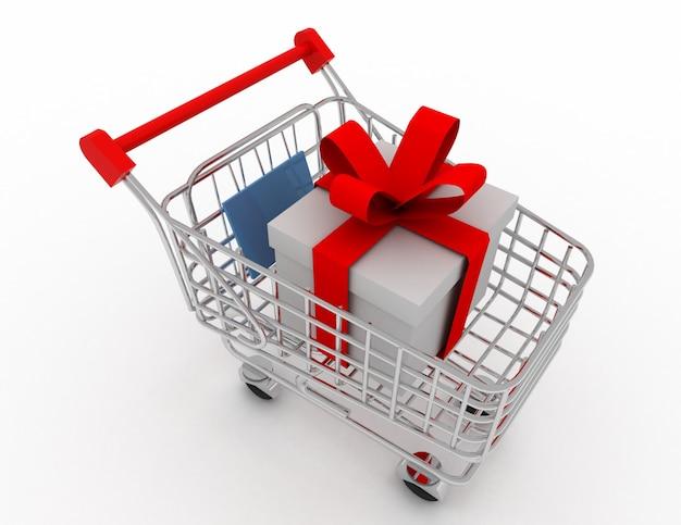 Vale-oferta no carrinho de compras, isolado no fundo branco. ilustração renderizada 3d
