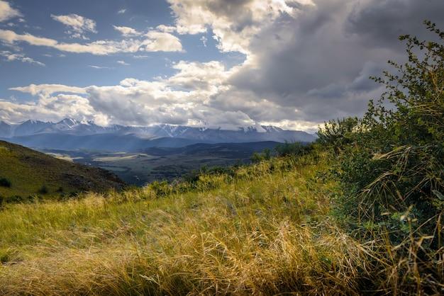 Vale verde pitoresco na luz do sol contra a cordilheira de neve sob céu nublado no verão ou outono. belo panorama das montanhas altai, na sibéria.