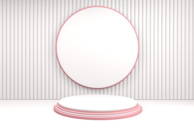 Valentine background renderização rosa, pódio e cena mínima de corações rosa. renderização 3d