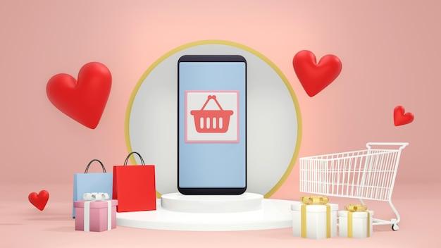 Valentine shopping online concept.shopping app em smartphone no pódio do cilindro branco em torno de carrinho de compras, caixas de presente, sacola de compras e ilustração de shape.3d de corações vermelhos. renderização 3d