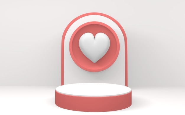 Valentine the pink podium display design minimalista em fundo branco. renderização 3d