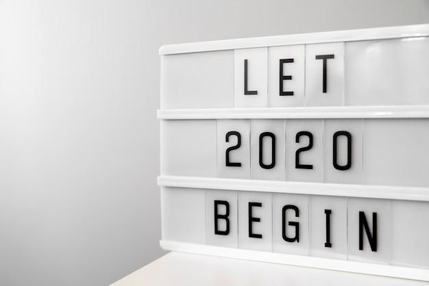 Vamos 2020 ano novo começar dígitos