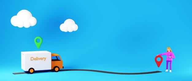 Van de entrega de renderização 3d indo para o ícone de localização com uma mulher em um background azul com nuvens