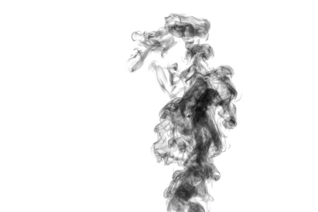 Vapor preto encaracolado místico perfeito ou fumaça isolada na superfície branca, copie o espaço.