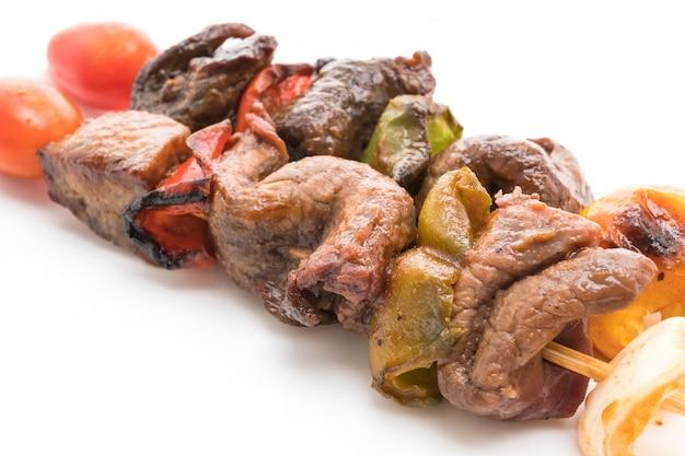 Vara de churrasco de carne grelhada