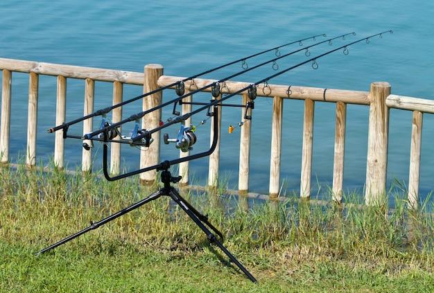 Vara de pesca no lago