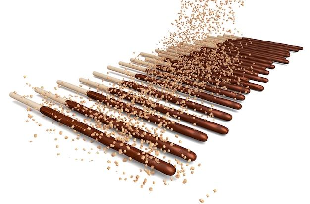 Varas de chocolate e tem amêndoas em pó polvilhe por cima