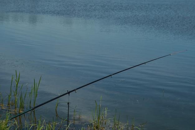 Varas de pesca com molinetes na margem.