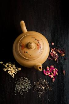 Variação de bule e chá seco