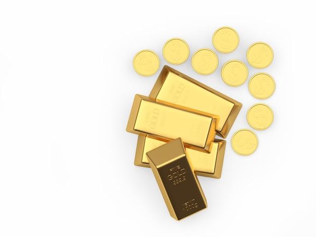 Várias barras de ouro e moedas