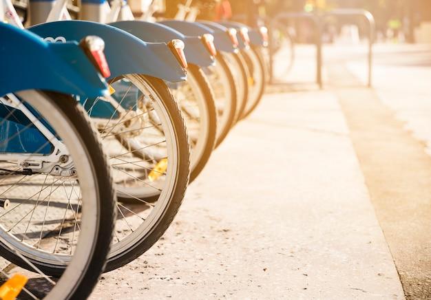 Várias bicicletas em um rack na luz solar disponíveis para alugar