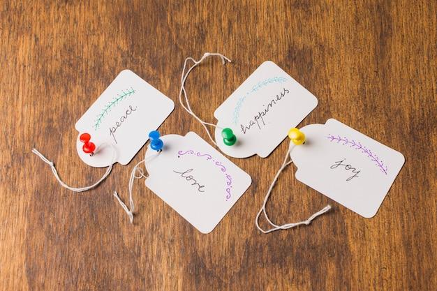 Várias emoções escritas na etiqueta de papel branco sobre a mesa de madeira