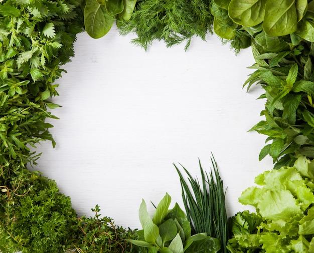 Várias ervas frescas