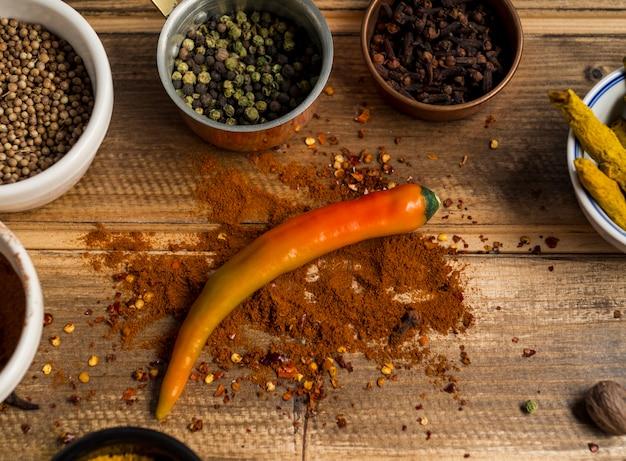 Várias especiarias ao redor de pimenta