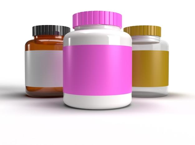 Várias latas de proteína em branco