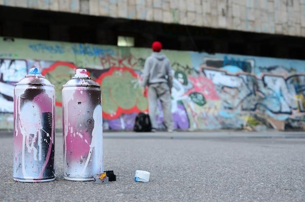 Várias latas de spray usadas com tinta rosa e branca encontram-se no asfalto