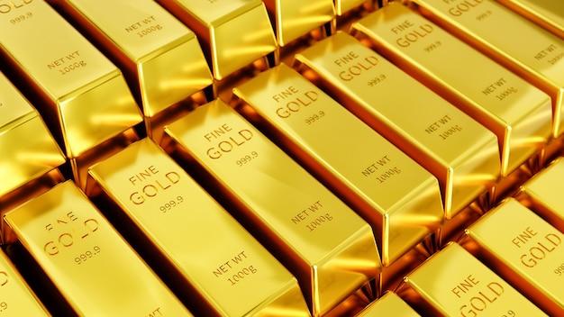 Várias linhas de barras douradas