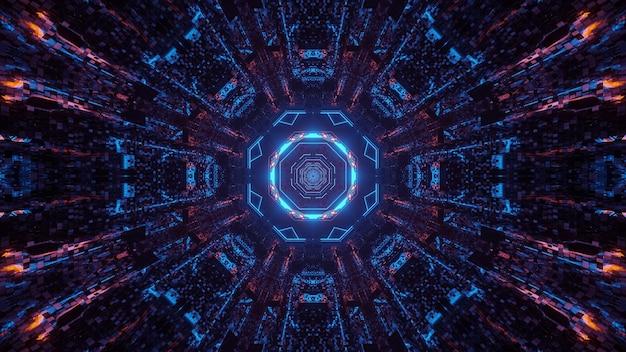 Várias luzes formando padrões circulares atrás de um fundo preto