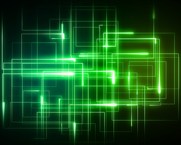 Várias luzes geométricas verdes