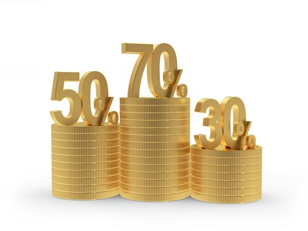 Várias porcentagens de descontos em pilhas de moedas de ouro
