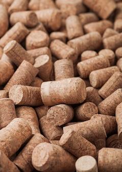 Várias rolhas de vinho e champanhe. macro