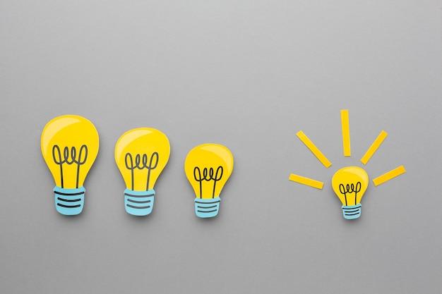 Variedade abstrata plana com elementos de inovação