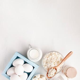 Variedade branca de produtos lácteos