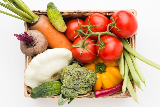 Variedade colorida de vegetais