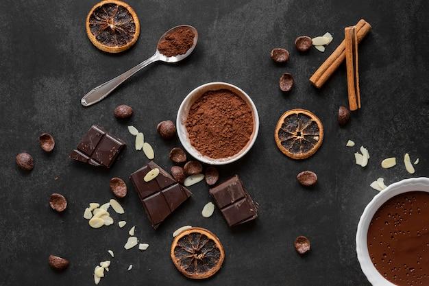Variedade criativa de deliciosos produtos de chocolate