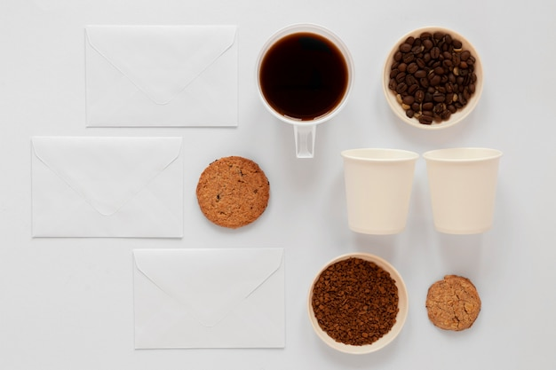 Variedade criativa de elementos de café
