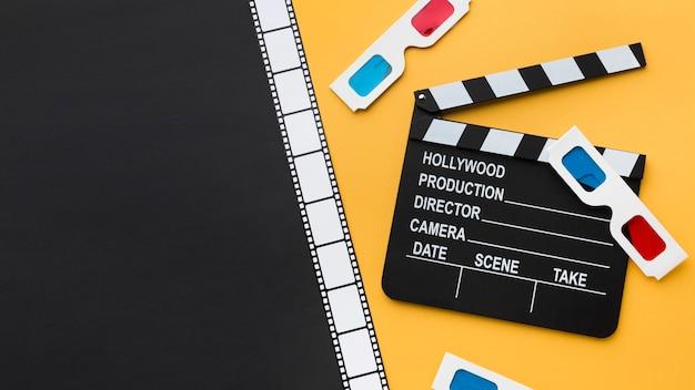 Variedade criativa de elementos de cinematografia com espaço de cópia