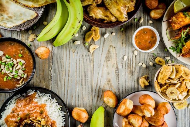 Variedade de alimentos da áfrica ocidental