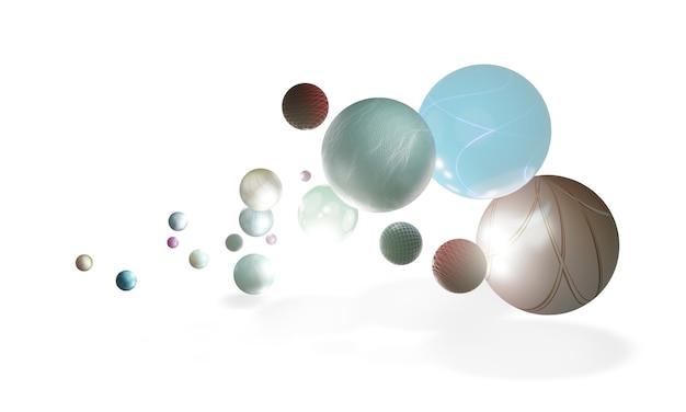 Variedade de bolas esféricas brilhantes flutuando no ar em um fundo geométrico 3d branco