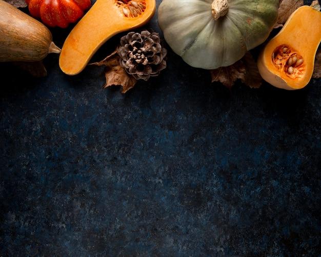 Variedade de borda de comida de ação de graças de vista superior com espaço de cópia