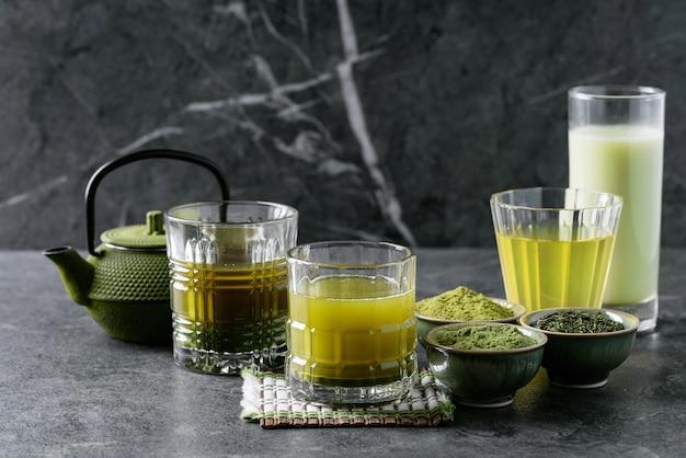 Variedade de chá de matcha