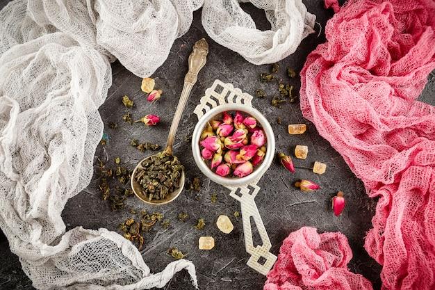 Variedade de chá seco com chá