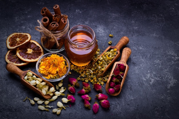 Variedade de chá seco