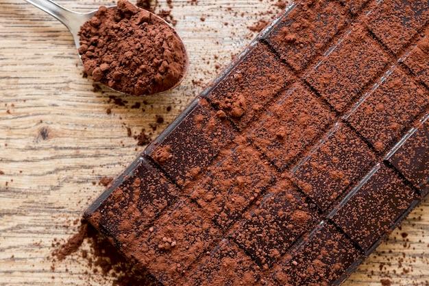 Variedade de chocolate doce plana