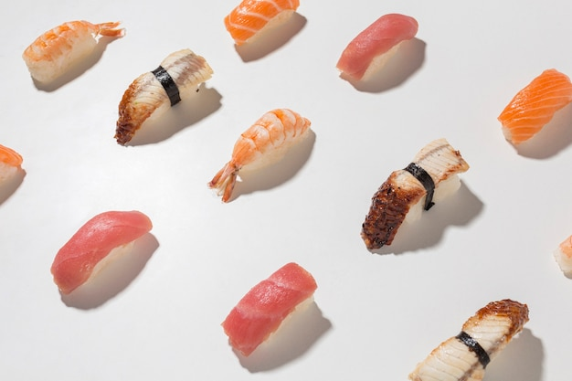 Variedade de close-up de sushi delicioso