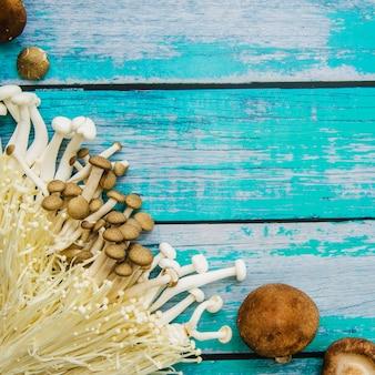 Variedade de cogumelos crus sobre uma velha mesa de madeira