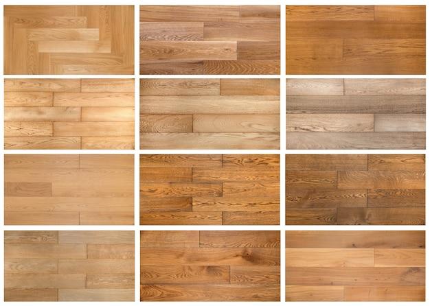 Variedade de colagem de diferentes texturas de amostra de laminado e parquet