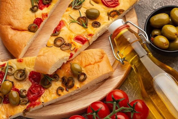 Variedade de comida italiana deliciosa de vista de cima