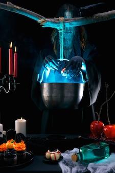 Variedade de comida para festa de halloween
